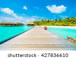 beautiful tropical beach and... | Shutterstock . vector #427836610