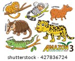 set of cute cartoon animals and ... | Shutterstock .eps vector #427836724