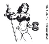 bodybuilder woman vector image | Shutterstock .eps vector #427841788