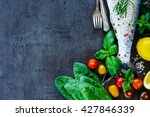 top view of fish dishes cooking ... | Shutterstock . vector #427846339