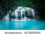 jungle landscape with flowing... | Shutterstock . vector #427855054