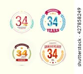 34 years anniversary set with... | Shutterstock .eps vector #427858249