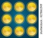 golden medallions and medals...   Shutterstock .eps vector #427861549