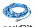 blue usb cable on white... | Shutterstock . vector #427880044
