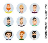 set of diverse round avatars... | Shutterstock .eps vector #427884790