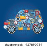 car shape concept background.... | Shutterstock .eps vector #427890754