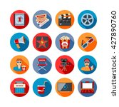 movie long shadow icons set.... | Shutterstock .eps vector #427890760