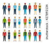 set of people standing on white ... | Shutterstock .eps vector #427892134