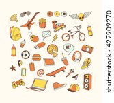 doodle icon set for teenagers.... | Shutterstock .eps vector #427909270