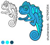 coloring page. little cute blue ... | Shutterstock .eps vector #427909354