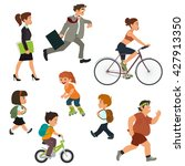 people on the street in motion. ... | Shutterstock .eps vector #427913350