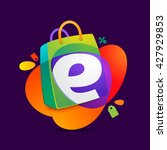 e letter with shopping bag icon ... | Shutterstock .eps vector #427929853