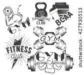 set of gym labels in retro... | Shutterstock . vector #427930513