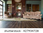 luxury interior of home library.... | Shutterstock . vector #427934728