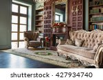 Luxury Interior Of Home Library....