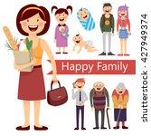 big happy family   generation   ... | Shutterstock .eps vector #427949374
