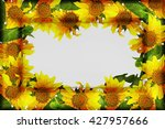 Embossed Frame With Sunflowers...