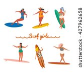 Set Of Surf Girls With...