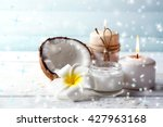 spa coconut products on light... | Shutterstock . vector #427963168