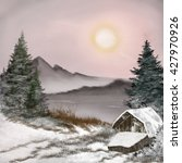 Winter Landscape With A House ...