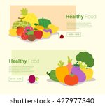 healthy food banner with fruits ... | Shutterstock .eps vector #427977340