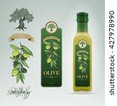glass oil olive bottle and... | Shutterstock .eps vector #427978990