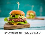 tasty grilled tuna burger with... | Shutterstock . vector #427984150