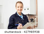 female plumber working on... | Shutterstock . vector #427985938