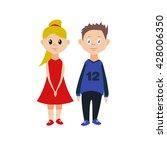 cute children  boy and girl | Shutterstock .eps vector #428006350