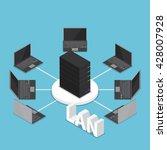 isometric lan network diagram ... | Shutterstock .eps vector #428007928