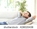 Relaxed Man Resting Lying On A...