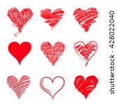 red hand drawn heart shaped... | Shutterstock .eps vector #428022040