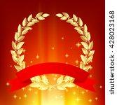 gold laurel wreath with red... | Shutterstock .eps vector #428023168