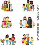 set of shopping concept couple... | Shutterstock .eps vector #428027344