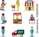 ecommerce shopping concept with ... | Shutterstock .eps vector #428028100