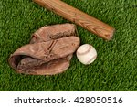 top view baseball bat glove and ... | Shutterstock . vector #428050516