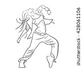 hip hop woman dancer vector... | Shutterstock .eps vector #428061106