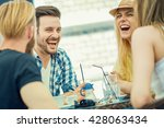 friends smiling and sitting in... | Shutterstock . vector #428063434