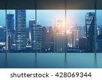 hong kong skyline from victoria ... | Shutterstock . vector #428069344