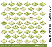 Isometric Park Walkway Street...