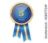 blue celebrating 5 years badge  ... | Shutterstock .eps vector #428077249