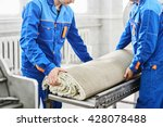 men workers cleaning get carpet ... | Shutterstock . vector #428078488