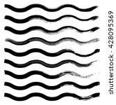 set of black hand drawn wave... | Shutterstock .eps vector #428095369