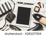 overhead view of essential... | Shutterstock . vector #428107504
