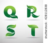 set of green eco letters logo... | Shutterstock .eps vector #428112838