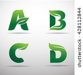 set of green eco letters logo... | Shutterstock .eps vector #428112844