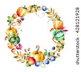 Colorful Autumn Wreath With...