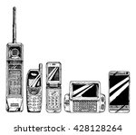 mobile phone evolution set....   Shutterstock .eps vector #428128264