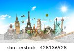 famous landmarks of the world... | Shutterstock . vector #428136928