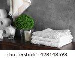 Bath Accessories On Grey Wall...